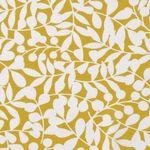Bio Baumwolle Canvas GOTS weiße Ranken auf gelb  001