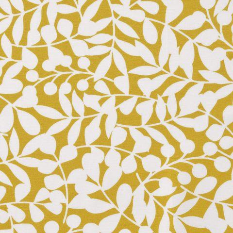 Bio Baumwolle Canvas GOTS weiße Ranken auf gelb 0,5m