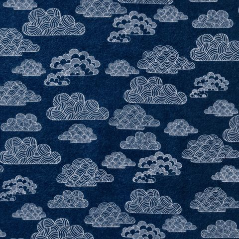 Bio Baumwolle Flanell GOTS Wolken dunkelblau 0,5m
