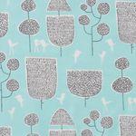 Feine Bio Baumwolle GOTS Bäume und Vögel auf türkis  001