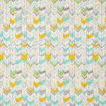Feine Bio Baumwolle GOTS Pfeilmuster gelb silber türkis 0,5m 001