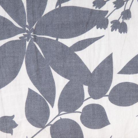 Bio Ramie graue Blumen auf weiß