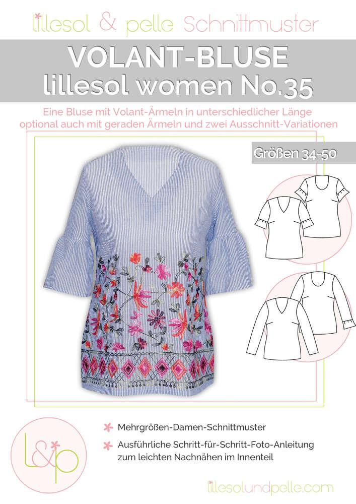 Papierschnittmuster lillesol women No.35 Volant-Bluse