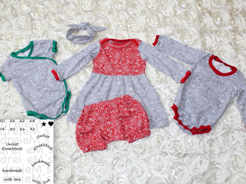 Newborn LOU SET Bodys,Kleid,kurze Hose, Haarband