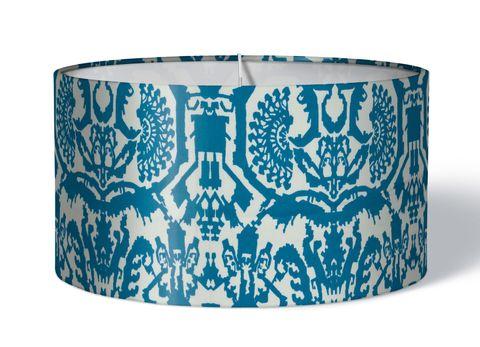 Stoff Lampenschirm Aztekenmuster blau auf weiß