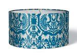 Stoff Lampenschirm Aztekenmuster blau auf weiß 001