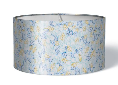 Stoff Lampenschirm Blumen blau gelb