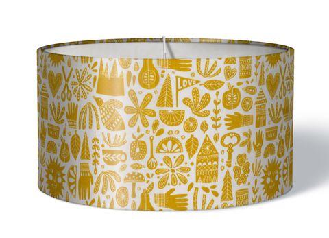 Stoff Kinderlampenschirm fröhliches Allerlei gelb auf weiß