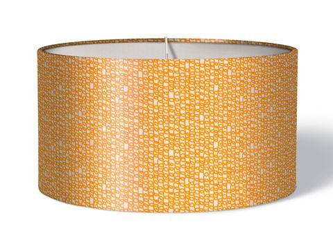 Stoff Lampenschirm Kringel orange auf weiß