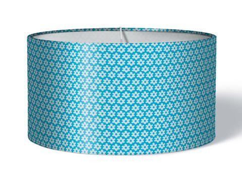 Stoff Lampenschirm Blumen weiß auf blau