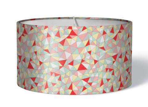 Stoff Lampenschirm Mosaik rot auf grün