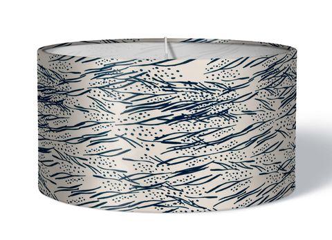 Stoff Lampenschirm Blätter dunkelblau auf creme weiß
