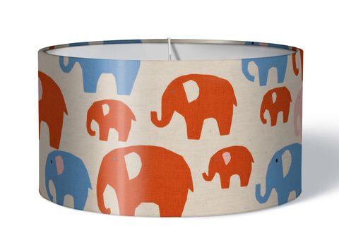 Stoff Kinderlampenschirm Elefanten rot auf natur beige