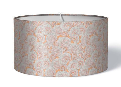 Stoff Lampenschirm Farn grau auf rosa