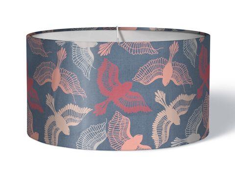 Stoff Lampenschirm Vögel rosa auf grau