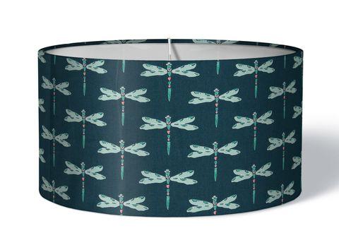 Stofflampenschirm Libellen blau türkis auf petrol