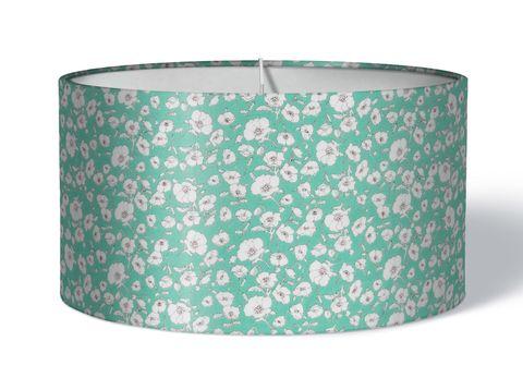 Stoff Lampenschirm Blumen weiß türkis