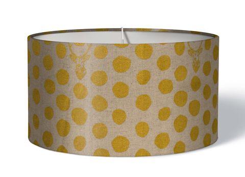 Stofflampenschirm Hirsche Punkte gold beige
