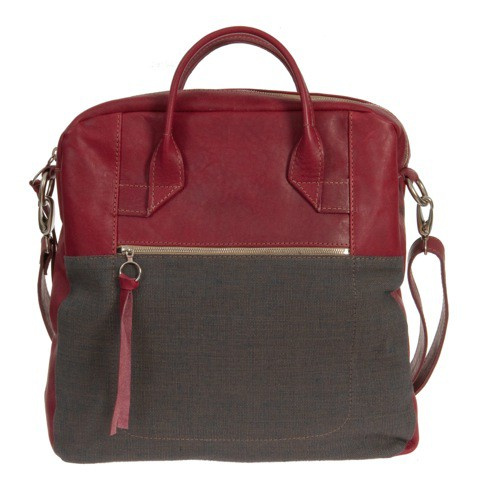 Henkeltasche in Bio Leder und Canvas Mix, rot navy