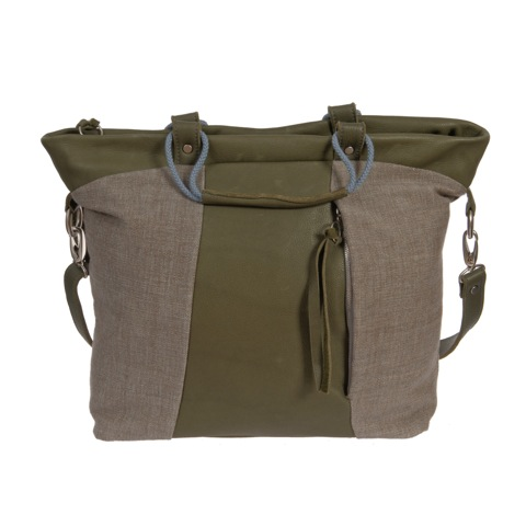 Shopper in khaki grünem Bio-Leder und Canvas