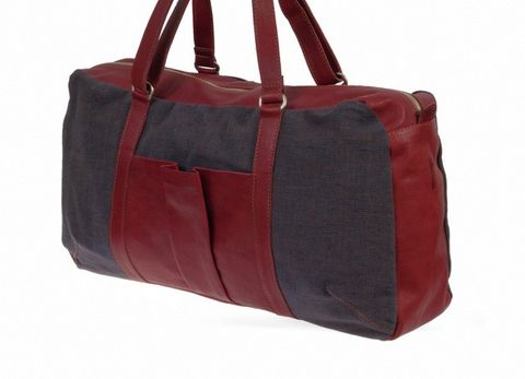 Shopper & Henkeltasche aus Bio-Leder und Canvas Mix in rot