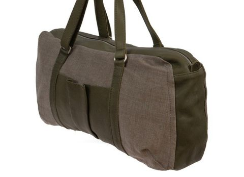 Shopper & Henkeltasche aus Bio-Leder und Canvas Mix in khaki