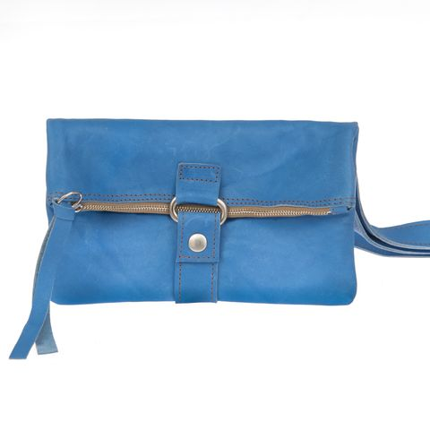 FOLDING POUCH multifunktionale Bioledertasche  in blau