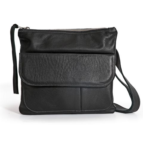 SQUARE POUCH 3in1 Ledertasche in mattem schwarz