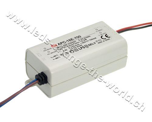 MeanWell LED Treiber 12-48VDC, 350mAh, 16.8W, IP42, Serie APC-16E