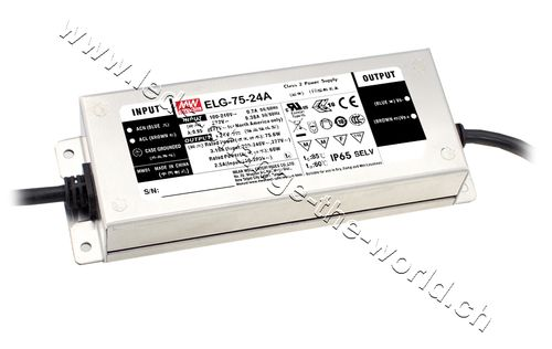 MeanWell LED Netzteil 21.6-26.4VDC, 3.15Ah, 75.6W, IP65, Serie ELG-75A