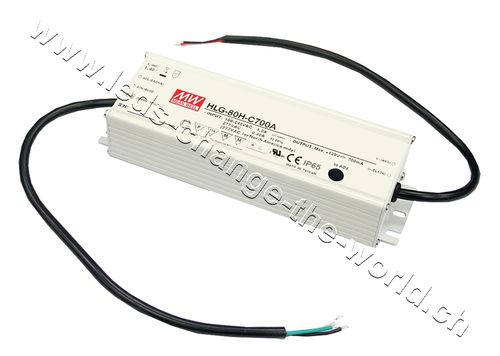 MeanWell LED Netzteil 24VDC, 3.4Ah, 81.6W, IP65, Serie HLG-80A