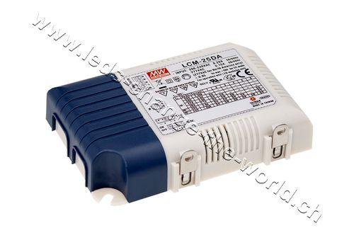 MeanWell LED Netzteil 6-54VDC, 350-1050mAh, 18.9/25.2W, Serie LCM-25DA