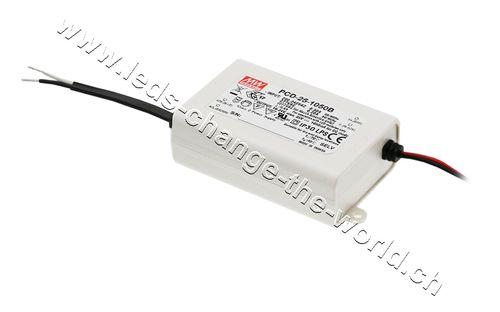 MeanWell LED Treiber 16-24VDC, 1050mAh, 25.2W, IP42, Serie PCD-25
