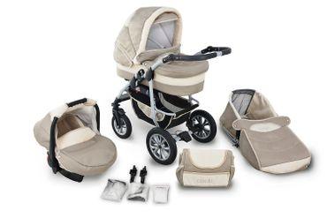 CLAMARO Kombi-Kinderwagen Coral 3in1, sofort lieferbar, Babyschale (Isofix), Schwenkräder Easy-Stop Bremse