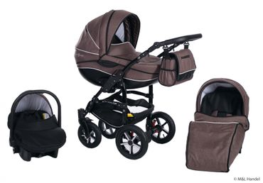 Kombi-Kinderwagen Model Prestige collection Ecco-Linen 3in1 mit Babyschale – Bild 13