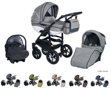 Clamaro Kombi-Kinderwagen Model Prestige Collection Ecco-Linen 3in1 mit Babyschale