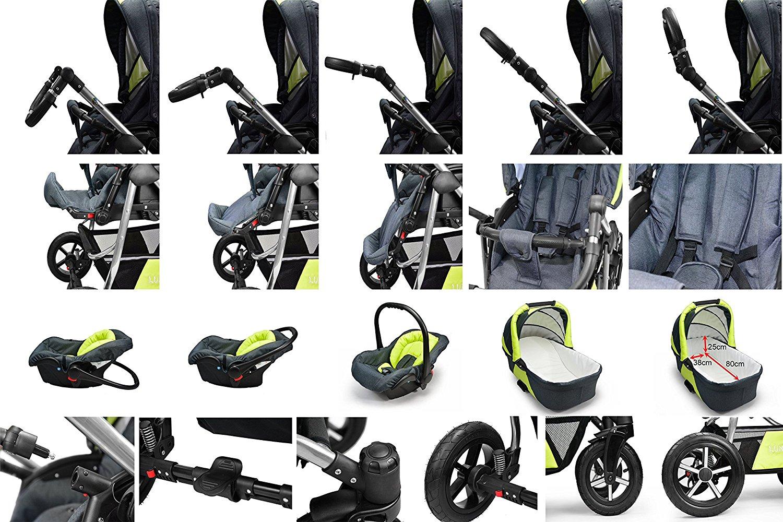 clamaro luno kombi kinderwagen 3in1 mit babyschale. Black Bedroom Furniture Sets. Home Design Ideas