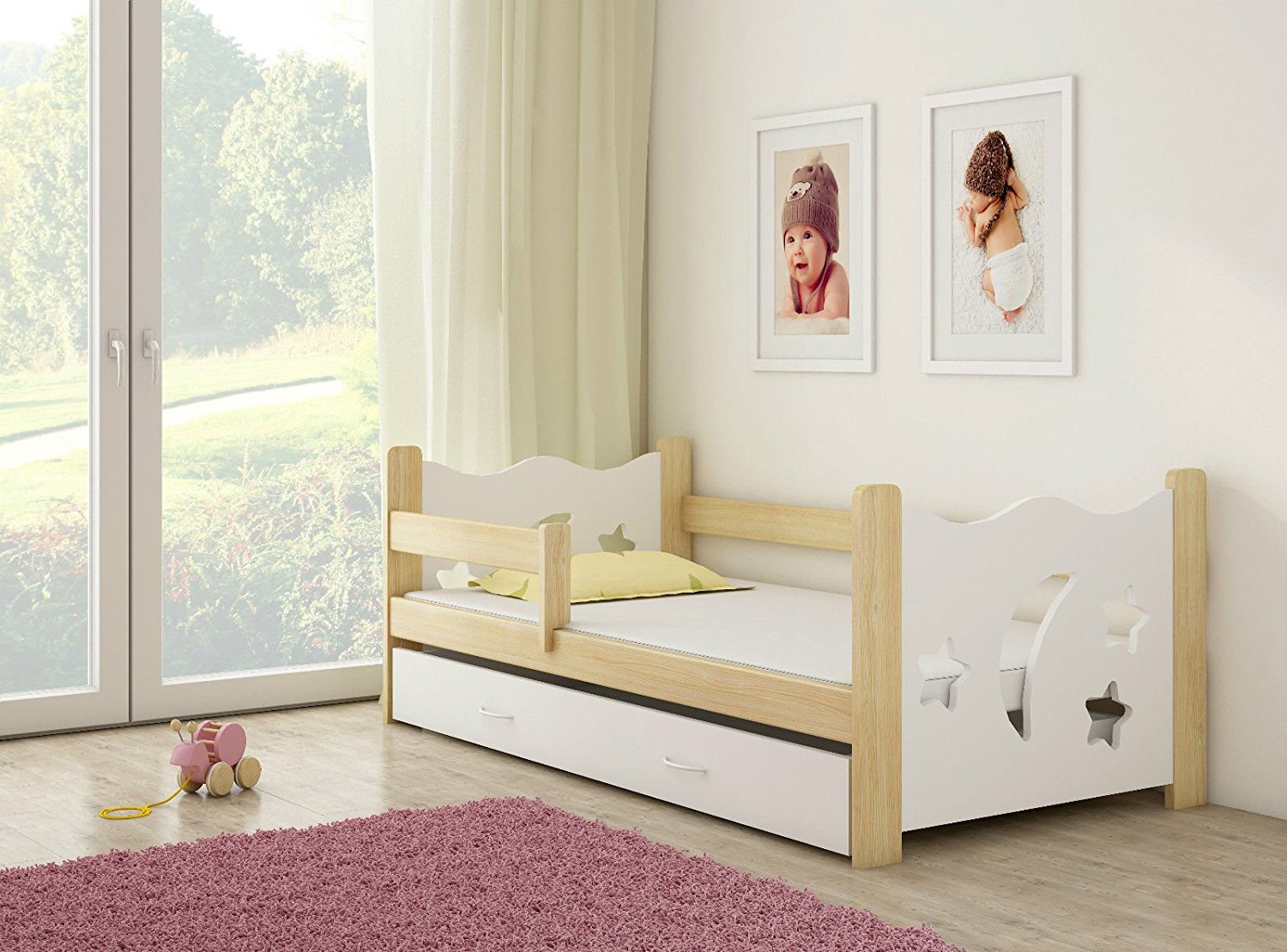 clamaro sternenhimmel kinderbett mit matratze 80x160 cm jugendbett baby ebay. Black Bedroom Furniture Sets. Home Design Ideas