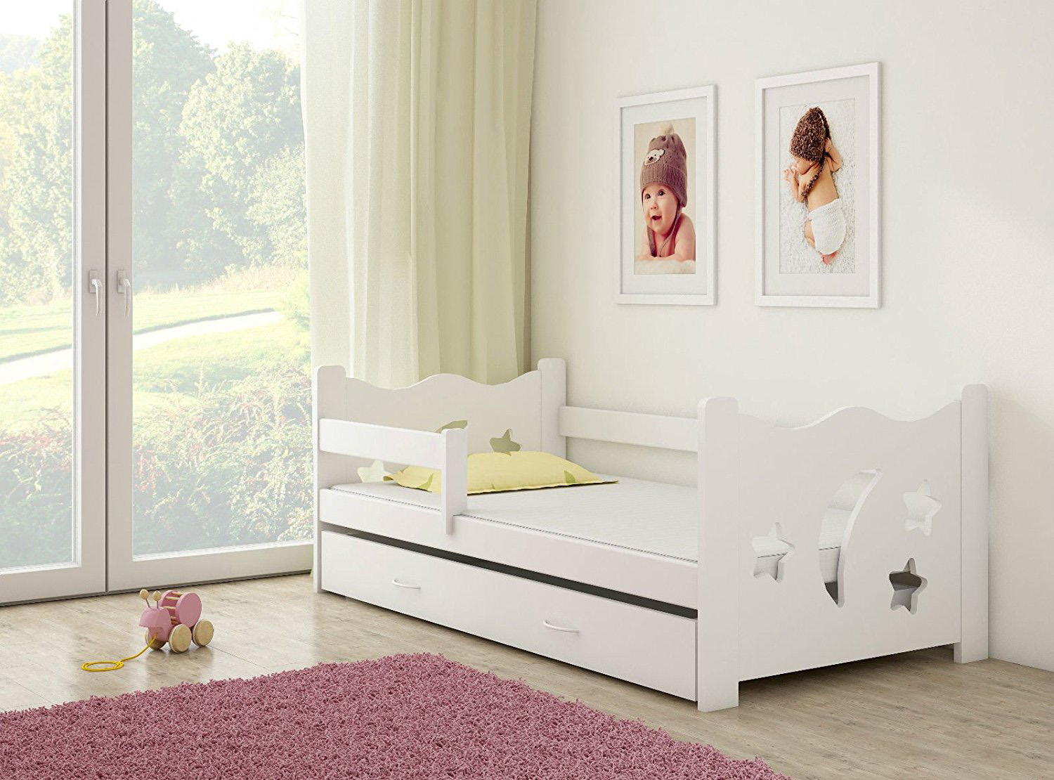 clamaro sternenhimmel kinderbett mit matratze 80x160 cm. Black Bedroom Furniture Sets. Home Design Ideas