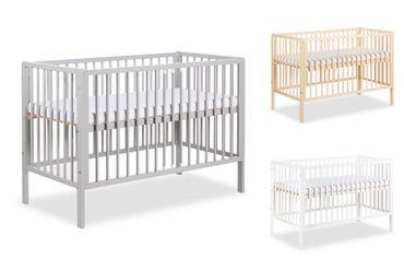 Clamaro 'Nap' 120 x 60 Babybett Gitterbett aus Kiefernholz inkl. Lattenrost (3-fach höhenverstellbar) mit 3 herausnehmbaren Gitterstäben - Kinderbett Maße: 125 x 66 x 85 cm