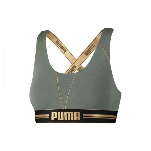 Puma Gold Logo Cross back 574005001 Olive 469 Sport BH – Bild 1