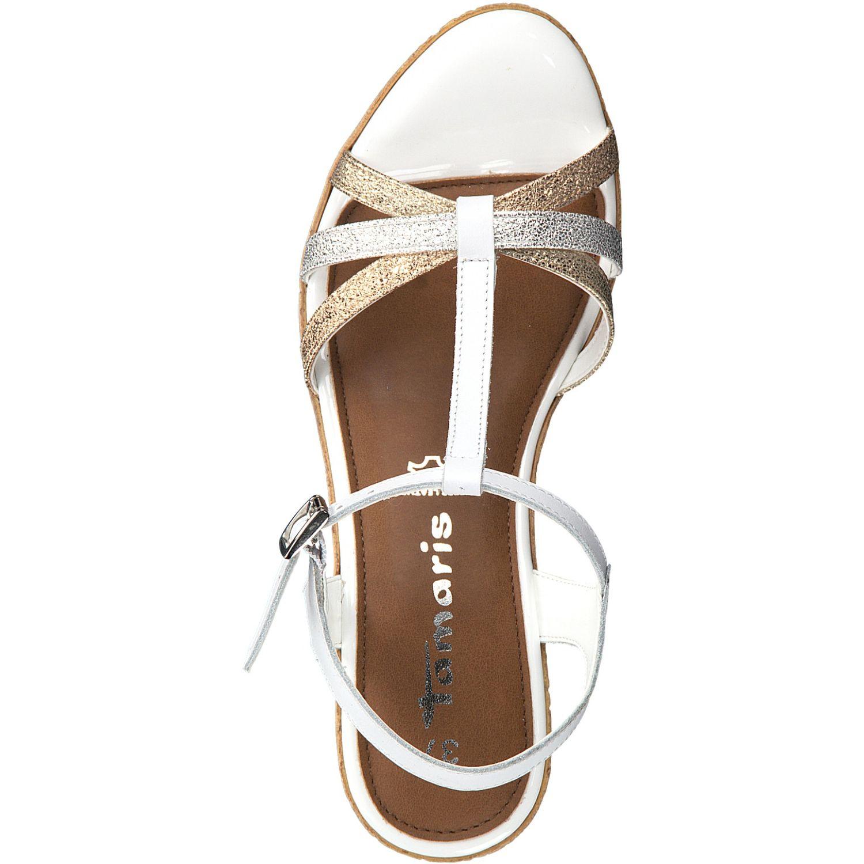 Details zu Tamaris Damen Sandale 1 28347 22 Weiss 197 Freizeitschuhe Keilform Sandalette