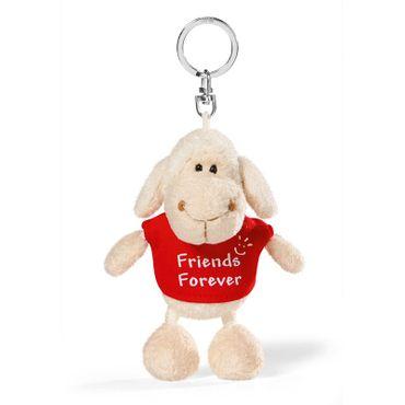 "Nici 34037 - Schaf weiß T-Shirt rot ""Friends Forever"" 10cm Schlüsselanhänger – Bild 1"