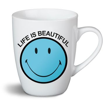 "Nici 35884 - Tasse ""Life is beautiful"" Smiley blau Porzellan ø:8cm H:10cm"
