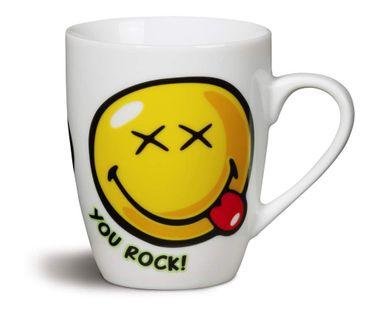 """Nici 36743 - Tasse Smileyworld """"YOU ROCK!"""" , Durchmeser 8 x 10 cm Porzellan – Bild 1"""