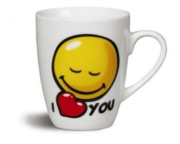 "Nici 36746 - Tasse Smileyworld ""I heart YOU"" , Durchmeser 8 x 10 cm Porzellan – Bild 1"