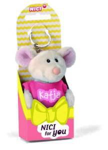 Nici 39372 - Maus Katja 10cm Beanbag Schlüsselanhänger mit T-shirt pink – Bild 1