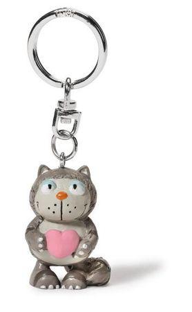 Nici 39527 - Katze Lazy grau PVC Figur 5cm Schlüsselanhänger keyfriends – Bild 1