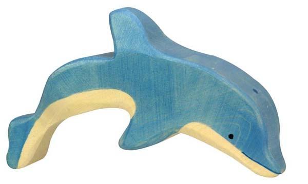 Holztiger Holzfigur Delfin springend