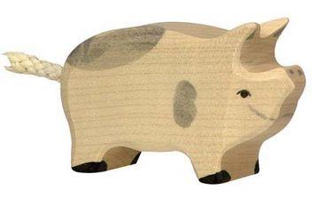 Holztiger Holzfigur Ferkel gefleckt